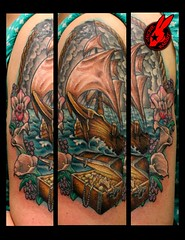Pirate Ship Tattoo by Jackie Rabbit (Jackie rabbit Tattoos) Tags: city flowers flower tattoo gold star virginia cool colorful pretty ship treasure good pirates awesome chest traditional great creepy roanoke va pirate realistic jackierabbit