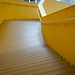 A view showing the yellow staircase inside the Hunt Library.