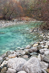 Vikos river in winter (Christos Andronis) Tags: trees winter orange brown white nature water river season landscape flow outdoors stream europe quiet scenic azure peaceful boulder clean greece serene tranquilscene epirus beautyinnature zagori