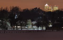Snowy London 2 (Dave-B2012) Tags: street uk trees winter snow london ice field night nightscape scenic illuminated canarywharf nikond90 flickraward me2youphotographylevel1