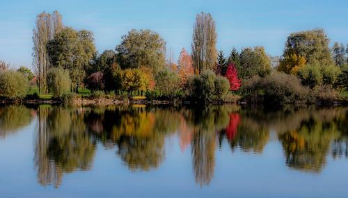L'eau dans tous ses tats - miroir d'automne... (Dolkar2012) eau reflet symtrie reflectionwater couleursautomnales canoneos650d eaudanstoussestats