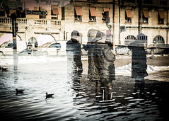 Undertow (petertandlund) Tags: city people urban color water birds sweden stockholm doubleexposure cigarette streetphotography sthlm stermalm strandvgen xe1