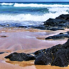 beach and sea (SS) Tags: light sea summer vacation beach rock hp sand waves fuerteventura 2008 photosmart m627 ss