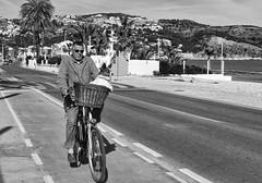 Walking the dog ? (El Tel63, Photographer & Phantom flyer) Tags: street dog bike coast blackwhite spain streetphotography cycle javea costablanca xabia silverefexpro2 eltel63