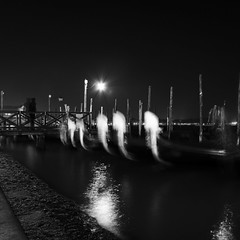 Far beyond a visible sign of your awakening (Arianna_M(busy)) Tags: longexposure venice light bw black night awakening bn ghosts laguna biennale venezia bigcalm notte luce sleepingbeauty sanmarco 2012 aperfectcircle commongrounds fantasmi lungaesposizione pzasanmarco giocandoconlelungheesposizioni yourefarbeyondavisiblesignofyour failingmiserablytorescue poisonedandhopeless gondolefantasma ghostlygondolas alphasonydslr350