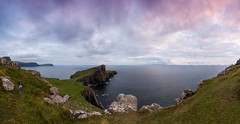 Neist Point Panorama (Kyoshi Masamune) Tags: scotland kyoshimasamune isleofskye westscotland skye innerhebrides highlands wideangle ultrawideangle seascape cliff coast thelittleminch duirinishpeninsula panorama neistpoint neistpointlighthouse watersteinhead clouds cloudscape cokinfilters cokinnd8 skyrim outerhebrides northuist southuist viewpoint rubhanaheist neist waterstein davidalanstevenson northernlighthouseboard sunset goldenhour uk