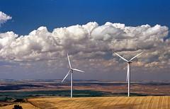 Ektar Clouds {Explored} (Desert Sun Images) Tags: kodakektar100 oregon windturbines 35mmfilm canonrebelti canonef70200mmf4l 70200landscape c41process