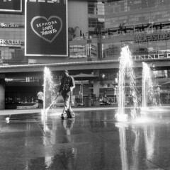 Janitor (azhukau) Tags: worker toronto janitor dundassquare canada street morning cleaning outdoor summer city people anscoautomaticreflexf35 tlr ilford delta3200 film vintage camera epsonperfectionv500photo microphen 6x6 square medium format 120