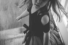 Twirls (adriedeets) Tags: twirl v dance swinging blackandwhite skirt girl hair bow tie nose lips chin