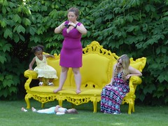 Wheaton, IL, Cantigny Park, Photo Opportunity for Me and Them (Mary Warren (7.3+ Million Views)) Tags: wheaton il cantignypark people humans women children yellow sofa plastic