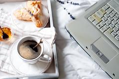 cup of coffee with the laptop on the bed (lyule4ik) Tags: bed laptop coffee business computer home background white cup work concept view notebook pen black gray notepad internet gadgets diary space cinnamon blanket bedroom breakfast light drink morning mug lifestyle bedding sunlight closeup cold warm table brown sweater female tea girl sheet comforting hot beverage bright latte nails women lunch