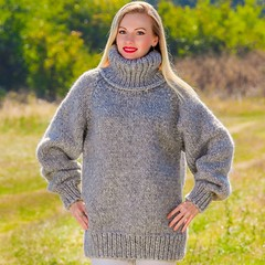 Tanya in heavy turtleneck sweater (Mytwist) Tags: supertanya hand knitted mohair wool sweater gray handmade grey tneck pullover timeless style sexy sweatergirl rollneck handgestrickt handknit heavyweight woman woolfetish fashion fetish fisherman female lady passion slave laine wolle woolen webfound super tanya