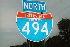 Interstate 494 - Minnesota (Prairie Star) Tags: interstateshield interstatesigns interstate494 north midwest minnesota highwaysign roadsign 494 sign signs unitedstates usa roadsigns cloudy