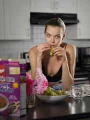 Peel me a grape (Bruce M Walker) Tags: travellingmodel grapes kitchen deshabille breakfast portrait