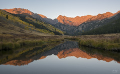 Piney River Autumn Reflection (Aaron Spong Fine Art) Tags: piney river lake ranch peak c gore range eagles nest wilderness white national forest vail colorado sunset autumn fall foliage colors 2016 landscapes reflection reflections