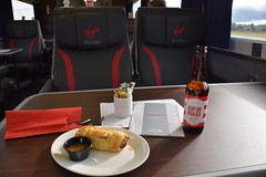 DSC_3279 Virgin East Coast Train First Class - Without a doubt these are the most uncomfortable seats in which I have ever travelled! First Class Meal Sausage Roll and Hop on Board Ale (very tasty) (photographer695) Tags: virgin east coast train first class without doubt these most uncomfortable seats which i have ever travelled meal sausage roll hop board ale very tasty