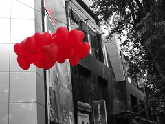Love (PhotoScientist) Tags: road street red blackandwhite bw color love monochrome balloons hearts yahoo heart sony balloon filter pointandshoot studios fc pune valentinesday partial loveisintheair icapture fcroad wx50 yahoogallery yahoostudios valentinesday2013 weeklyflickr loveisintheairhappyvelentinesday2013