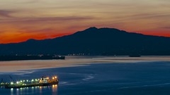 Red Sky At Night (Eric Dugan) Tags: california flickr dusk explore sanfranciscobayarea slowshutter rodeo bluehour vallejo frontpage mounttam freighters vallejoca sanpablobay glencove explorefrontpage