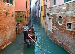 Gondola (albireo 2006) Tags: venice wallpaper italy canal italia background bald rowing gondola venise venezia narrow venedig italie gondolier canale veneto