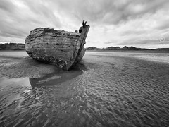 Peace at Last (ShrubMonkey (Julian Heritage) Also on ipernity) Tags: wood uk bw rot abandoned beach river mono coast boat peace decay tide low north devon rest beached nautical hull hulk discarded desolate decline derelict dilapidation deserted dereliction dilapidated taw clinker crowpoint