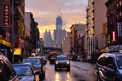 After the rain, before the apocalypse. (Linh H. Nguyen) Tags: world street city light sunset urban newyork cars beautiful architecture clouds golden chinatown sony geotag aftertherain freedomtower penf3818 nex7