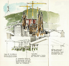 Barcelona, Sagrada Familia (Luis_Ruiz) Tags: barcelona voyage art familia architecture de sketch spain cathedral drawing sketchbook gaudi catalunya nouveau dibujo sagrada modernisme carnet apunte urbansketchers stillmanbirn