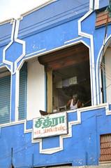 Tailor in the Window (Victoria Lea B) Tags: blue india window tamilnadu tailor chengalpet