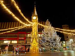 Christmas Day 2011 (ceeko) Tags: christmas england leicestershire leicester christmastree clocktower christmaslights 2011 olympusep2