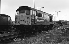 1990-08-25 @ Thornaby TMD: Class 31/1 no. 31124 [slide 8106] (graeme9022) Tags: blue 2 english electric yard br diesel traction rail brush maintenance type depot british locomotive railways tees livery a1aa1a