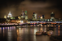 London (Wameq R) Tags: longexposure london water thames skyline night buildings river boat hdr lightroom photomatix hdrefex