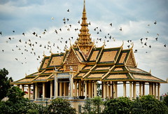 Birded Moonlight Pavilion (Greg - AdventuresofaGoodMan.com) Tags: building birds architecture temple cambodia southeastasia palace spire wat royalpalace goldentemple goldenroof dagoba moonlightpavilion