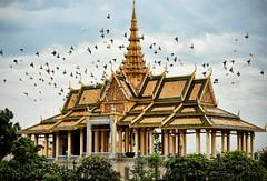 Birded Moonlight Pavilion (Greg - AdventuresofaGoodMan.com) Tags: building birds architecture temple cambodia southeastasia palace spire wat royalpalace goldentemple goldenroof dagoba moonlightpavilion