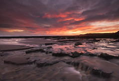 Red sky in the morning... (SilverRainbow.) Tags: sea sky cloud sunrise flow dawn coast rocks northumberland spittal cocklawburn
