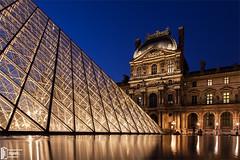Louvre (DigiNelis) Tags: blue paris france museum architecture louvre selecteren