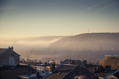 The First Morning (Gilderic Photography) Tags: city morning winter house mist cinema fog canon landscape eos europe raw cityscape belgium belgique belgie hiver hill atmosphere valley cinematic paysage maison liege brouillard ville brume colline matin lightroom 500d vallee 2013 gilderic