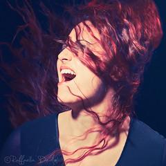Let it Out (RaffaLUCE) Tags: blue red woman selfportrait energy grain scream redhair toned shout raffaella splittone