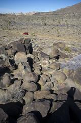 the red truck (susan catherine) Tags: california shadow landscape lava rocks view desert joshuatree x100