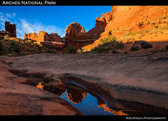 Park Avenue Reflections (ken.krach (kjkmep)) Tags: reflection sunrise utah arches archesnationalpark courthousetowers