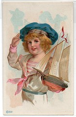 Victorian Trade Card - Sailor Girl with Boat (oldsailro) Tags: park old boy sea summer people sun lake playing beach water pool girl sunshine youth sailboat race vintage children fun toy boat miniature wooden pond model waves sailing ship child with time yacht antique group victorian boom card regatta mast sailor hull spectators trade watercraft adolescence keel fashioned