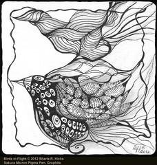 Birds In Flight ©2012 Sharla R. Hicks, Zentangle Tile, Sakura Micron Pigma Pen 01 & Graphite (Sharla R. Hicks CZT) Tags: illustration pen tile drawing doodle zentangle zendoodle zentangleinspiredart sharlahickscertifiedzentangleteacher