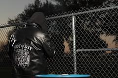 023/365 - January 23, 2013 (castermer) Tags: blue tree male leather fence barrel chain jacket link biker 365 2012 strobist twolightsetup canoneosxsi pad2013365