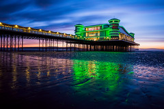 Weston (Daniel Borg) Tags: camera longexposure light sunset sea sun seascape motion green night clouds reflections lights pier sand colours tide wideangle calm nd bluehour westonsupermare 6d canon1740l neutraldensity danielborg canon6d bwnd110 potd:country=gb yahoo:yourpictures=pier