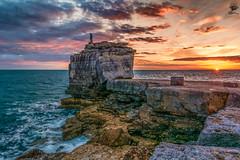 ''2 on a Rock'' (marcbryans) Tags: portlanddorset portlandbill pulpitrock seascape sunsets sunflare sea sky waves wideangle rock tokina1116mm outdoors jurassic ocean horizon nikond7100 light cliffs coast