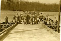 1942 Belvoir Bridge Engineers (rich701) Tags: panoramic engineers fort belvoir building pontoon bridge construction 1942 ww2 worldwartwo military vintage bw blackandwhite tank m3