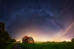 Living in Space. (albert dros) Tags: albertdros astrophotography culture dutch galaxy green house milkyway moon netherlands night panorama pollution stars