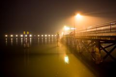 Mysterious Pier (Katka S.) Tags: night shot city mist fog evening light water sea bodensee friedrichshafen pier reflection mysterious
