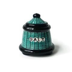 Turquoise and Black Salt Jar (jmnpottery) Tags: ceramics pottery jmnpottery etsy bowls pots planters utensilholder prepbowls mugs