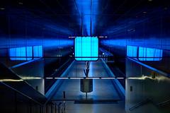 Bahnhof in blau (petra.foto on/off) Tags: canon fotopetra 5dmarkiii hamburg germany hafencity ubahn bahnhof u4 blau color spiegelung reflexion