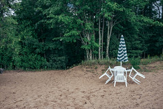 DSCF4534-2 (kimberlypaoletti) Tags: michigan up forest chair umbrella sand beach tropical