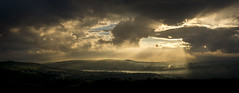 Sunbeams on the mist (Keartona) Tags: sunbeams landscape panorama sky spectacular beautiful summer england countryside manchester werneth low charlesworth glossop july sunset clouds sunrays stunning view